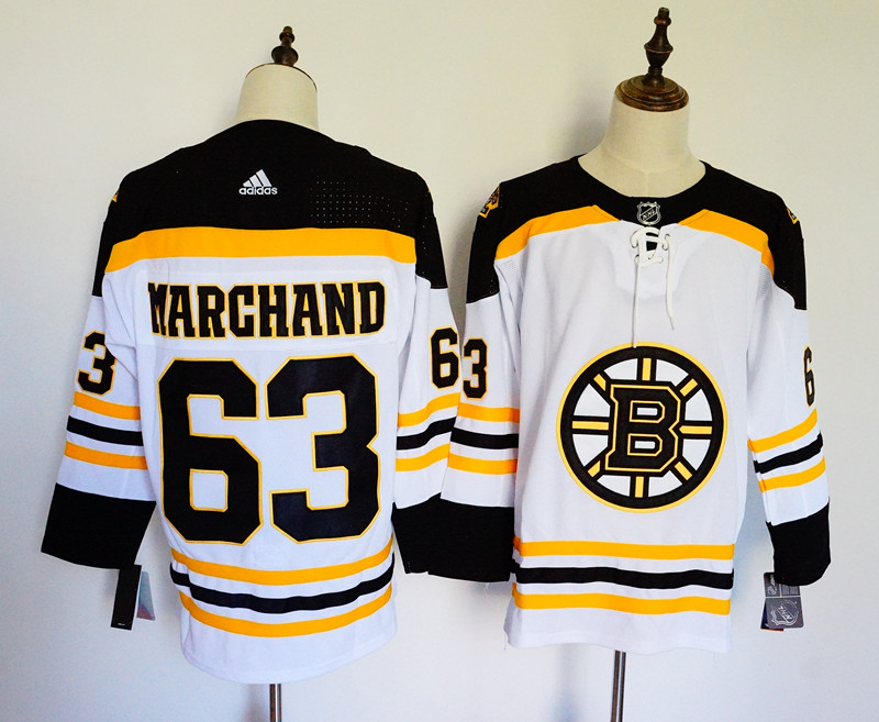 Men's Adidas Boston Bruins #63 Brad Marchand White Stitched NHL Jersey