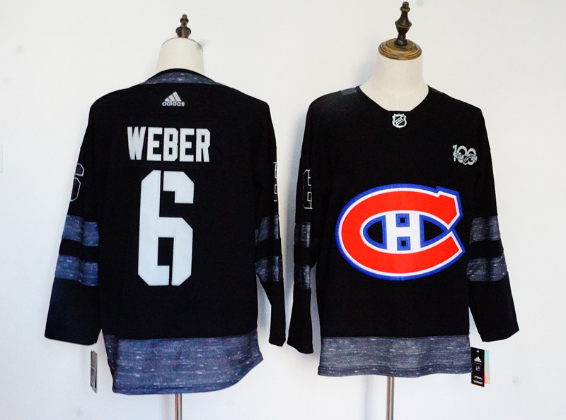Men's Adidas Montreal Canadiens #6 Shea Weber Black 1917-2017 100th Anniversary Stitched NHL Jersey