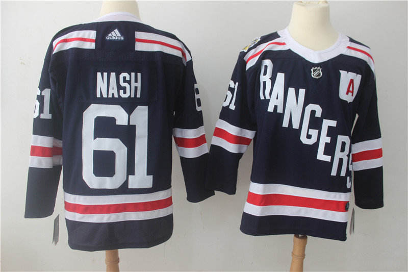 Men's Adidas New York Rangers #61 Rick Nash Navy 2018 Winter Classic Authentic Stitched NHL Jersey