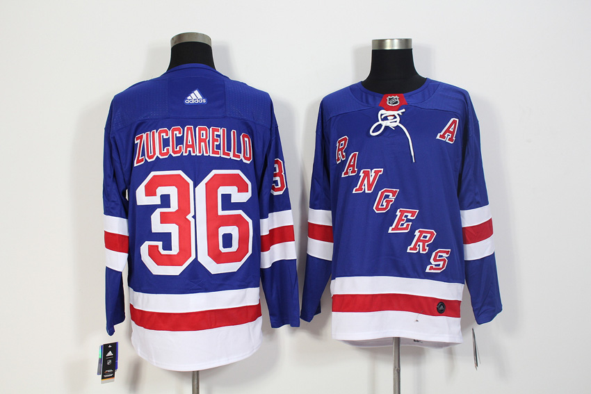Men's Adidas New York Rangers #36 Mats Zuccarello Royal Blue Stitched NHL Jersey