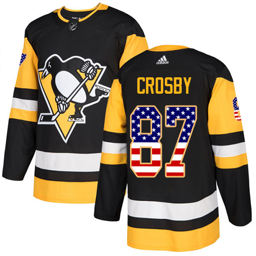 Men's Pittsburgh Penguins #87 Sidney Crosby Black USA Flag Stitched NHL Jersey