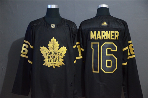 Men's Toronto Maple Leafs #16 Mitchell Marner Black Golden Stitched NHL Jersey