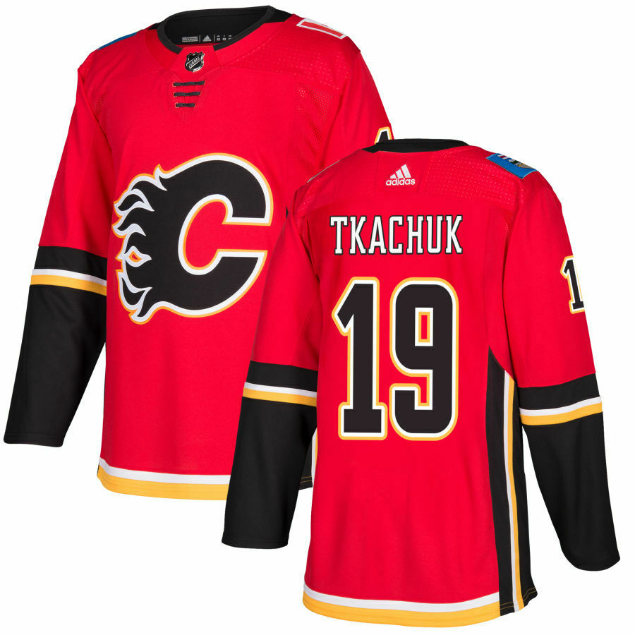 Men's Calgary Flames #19 Matthew Tkachuk Red Stitched NHL Jersey