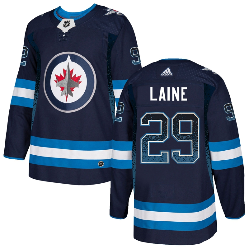 Men's Winnipeg Jets #29 Patrik Laine Navy Blue Drift Fashion Stitched NHL Jersey
