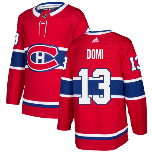 Men's Adidas Montreal Canadiens #13 Max Domi Red Stitched NHL Jersey