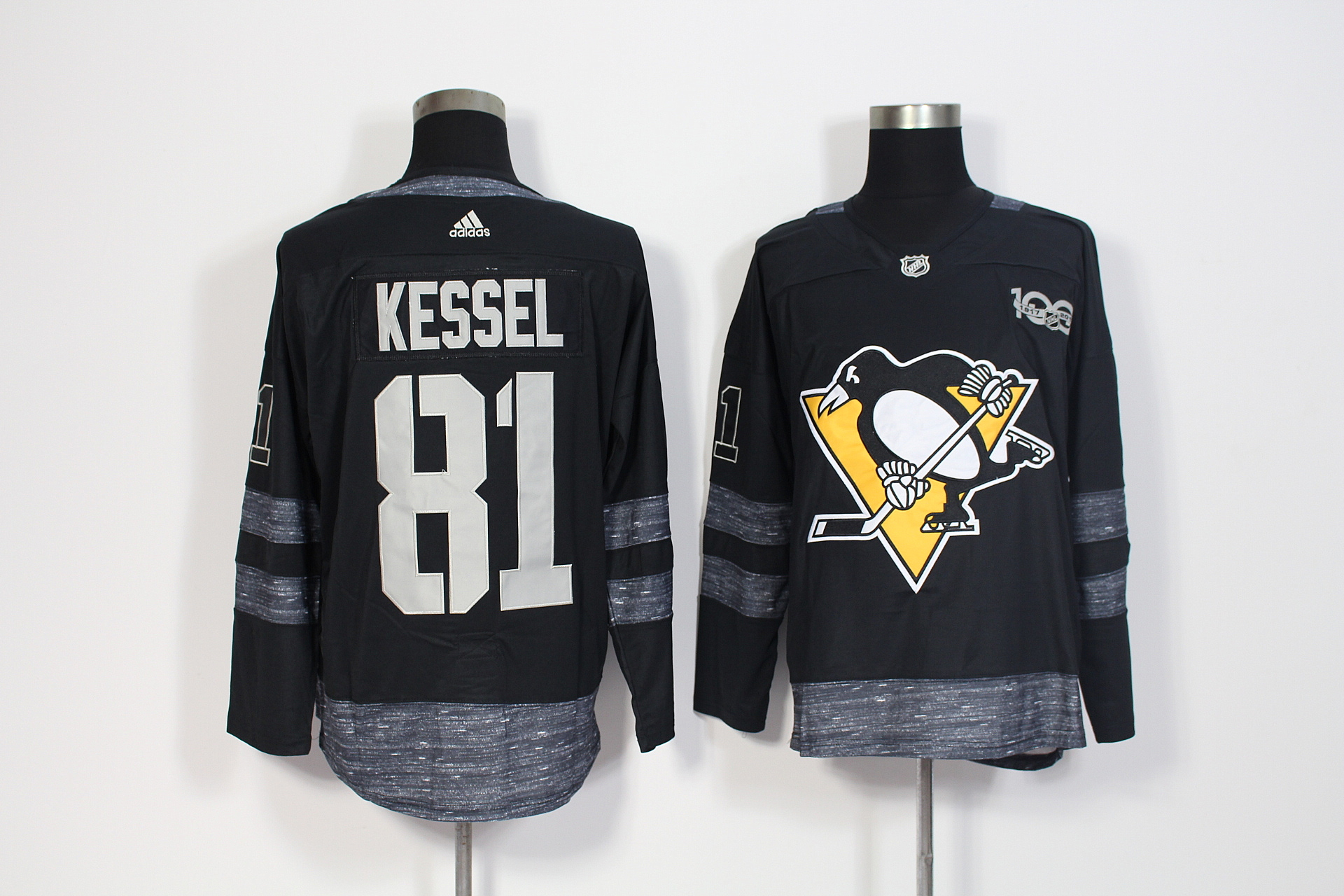 Men's Adidas Pittsburgh Penguins #81 Phil Kessel Black 1917-2017 100th Anniversary Stitched NHL Jersey