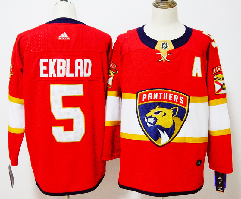 Men's Adidas Florida Panthers #5 Aaron Ekblad Red Stitched NHL Jersey
