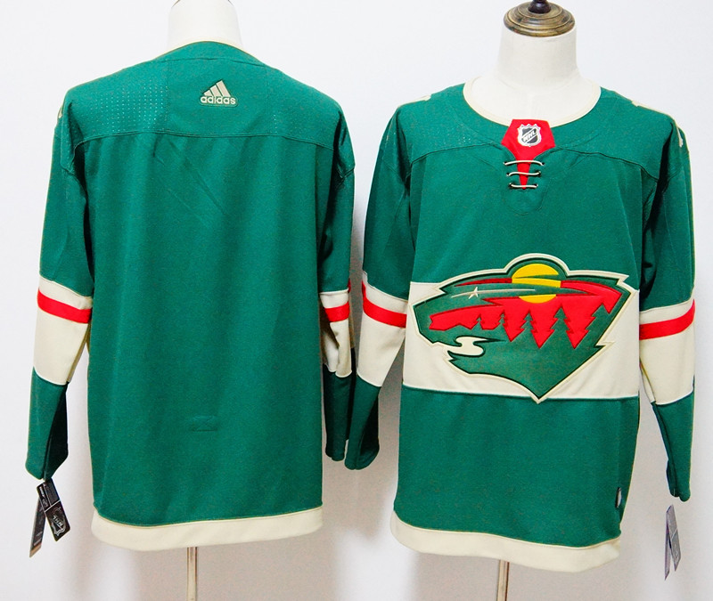 Men's Adidas Minnesota Wild Green Stitched NHL Jersey