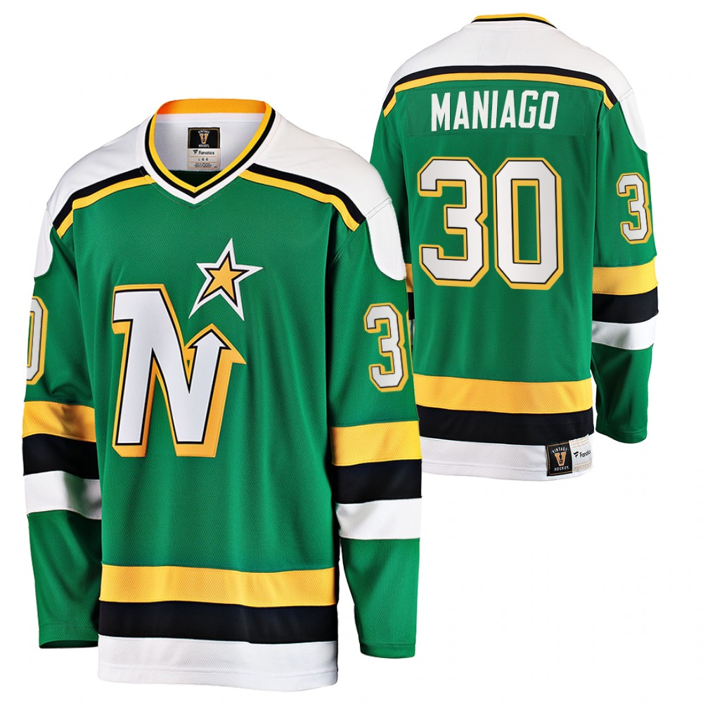 Men's Minnesota North Stars # 30 Cesare Maniago Green Stitched NHL Jersey