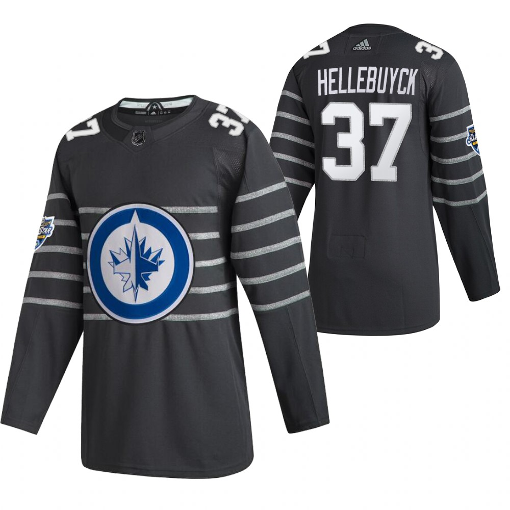 Men's Winnipeg Jets #37 Connor Hellebuyck 2020 Grey All Star Stitched NHL Jersey
