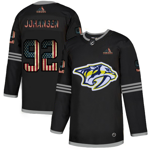 Men's Nashville Predators # #92 Ryan Johansen Grey USA Flag Stitched NHL Jersey