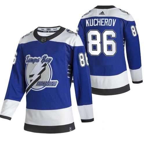 Men's Tampa Bay Lightning #86 Nikita Kucherov 2021 Blue Reverse Retro Stitched NHL Jersey
