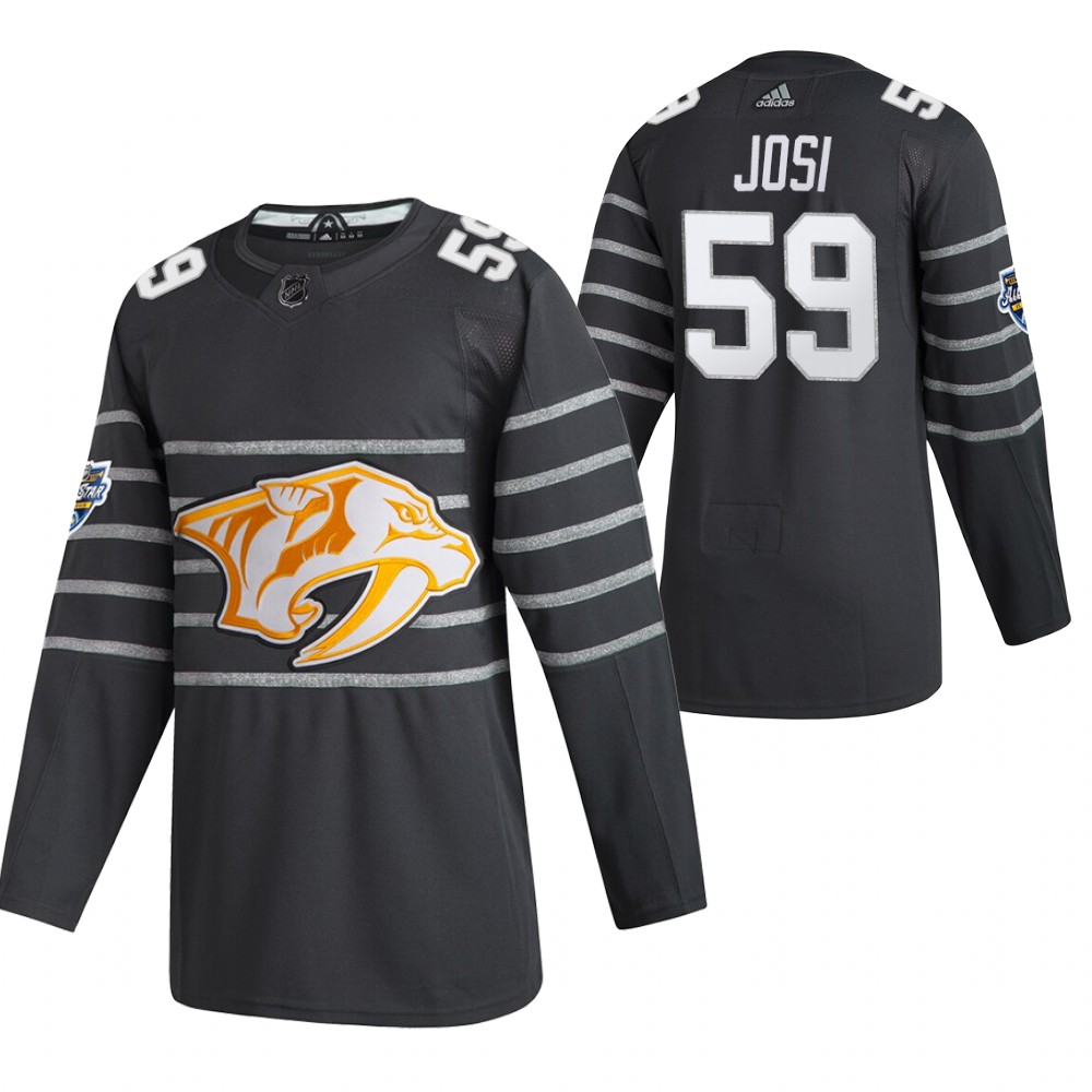 Men's Nashville Predators #59 Roman Josi 2020 Grey All Star Stitched NHL Jersey