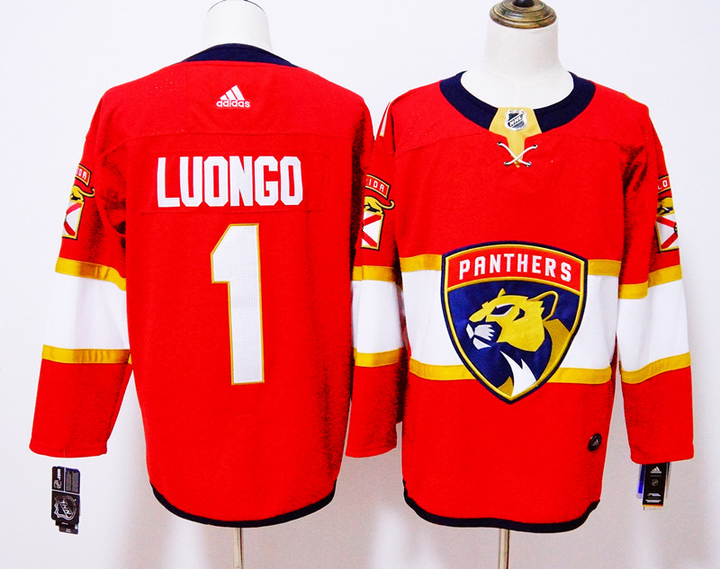 Men's Adidas Florida Panthers #1 Roberto Luongo Red Stitched NHL Jersey