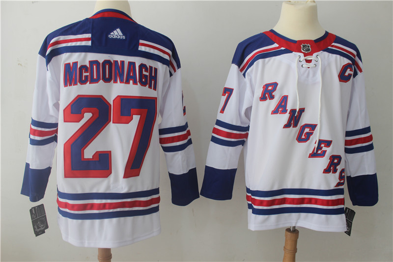 Men's Adidas New York Rangers #27 Ryan McDonagh White Stitched NHL Jersey