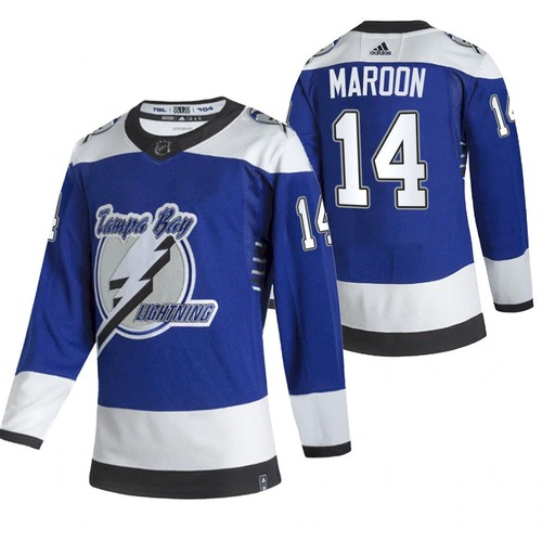 Men's Tampa Bay Lightning #14 Pat Maroon 2021 Blue Reverse Retro Stitched NHL Jersey