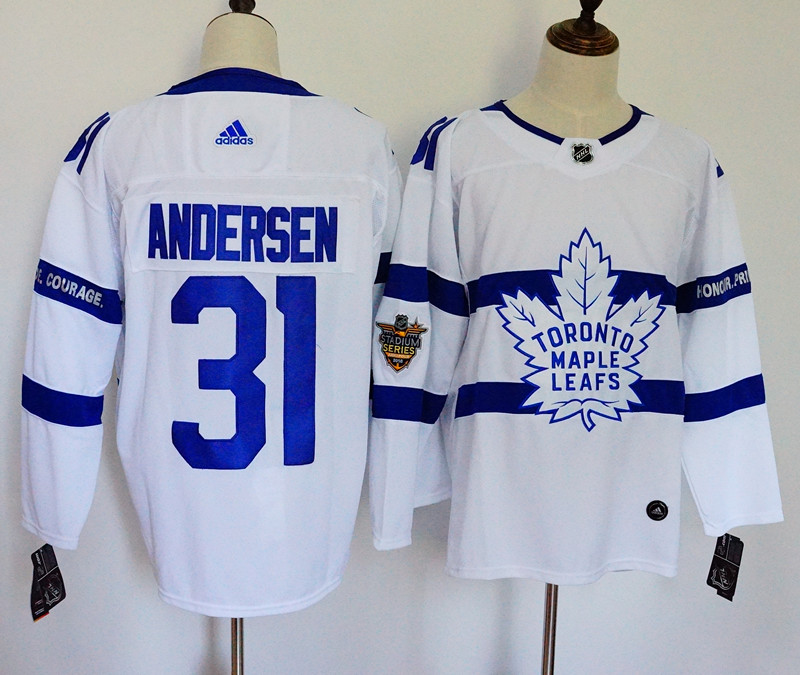 Men's Adidas Toronto Maple Leafs #31 Frederik Andersen White 2018 NHL Stadium Series Stitched NHL Jersey