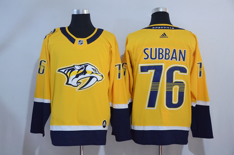 Men's Nashiville Predators #76 P.K Subban Yellow Adidas Stitched NHL Jersey