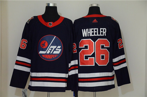 Men's Winnipeg Jets #26 Blake Wheeler Navy Stitched NHL Jersey