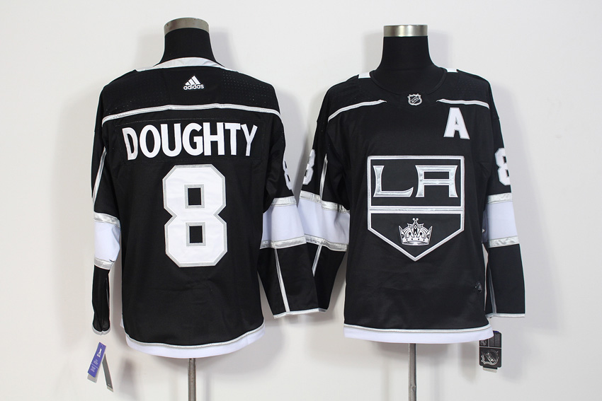 Men's Adidas Los Angeles Kings #8 Drew Doughty Black Stitched NHL Jersey