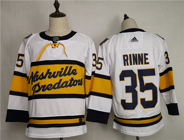 Men's Nashville Predators #35 Pekka Rinne White Stitched NHL Jersey