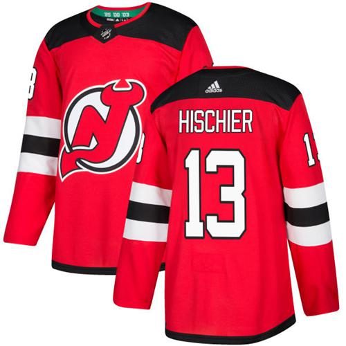 Men's Adidas New Jersey Devils #13 Nico Hischier Red Stitched NHL Jersey