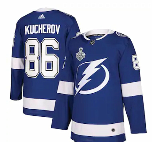 Men's Adidas Tampa Bay Lightning #86 Nikita Kucherov Blue Stanley Cup Finals Blue Stitched Jersey