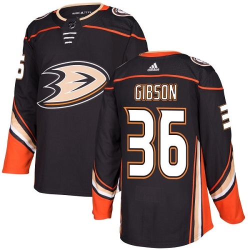 Men's Adidas Anaheim Ducks #36 John Gibson Black Stitched NHL Jersey