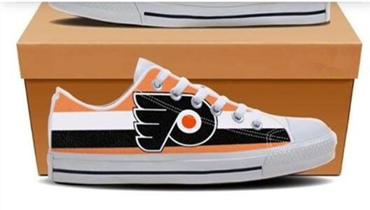 Women And Youth NHL Philadelphia Flyers Repeat Print Low Top Sneakers