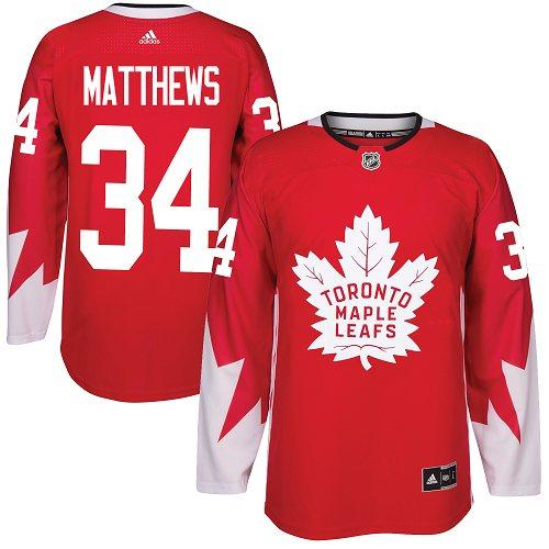 Men's Toronto Maple Leafs #34 Auston Matthews Red Canada Stitched NHL Jersey