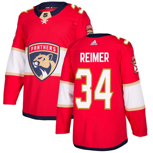 Men's Florida Panthers #34 James Reimer Red Stitched NHL Jersey
