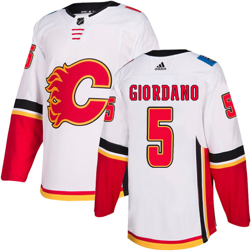 Men's Calgary Flames #5 Mark Giordano White Away Stitched NHL Jersey