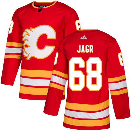 Men's Calgary Flames #68 Jaromir Jagr Red Stitched NHL Jersey