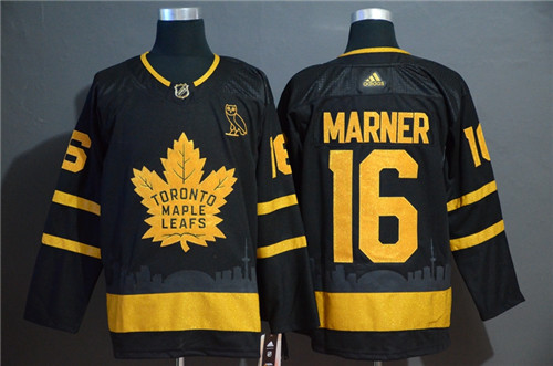 Men's Toronto Maple Leafs #16 Mitchell Marner Black Golden City Edition Stitched NHL Jersey