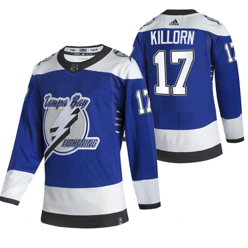 Men's Tampa Bay Lightning #17 Alex Killorn 2021 Blue Reverse Retro Stitched NHL Jersey
