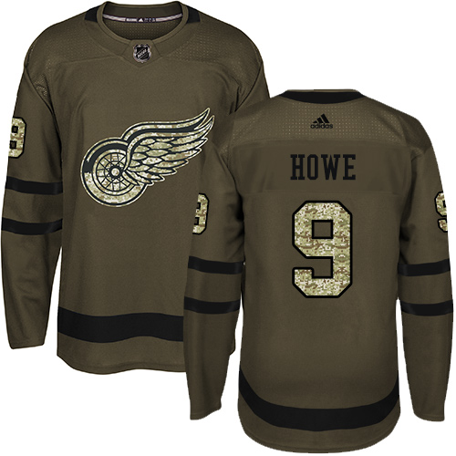 Men's Detroit Red Wings #9 Gordie Howe Green Salute To Service Stitched NHL Jersey