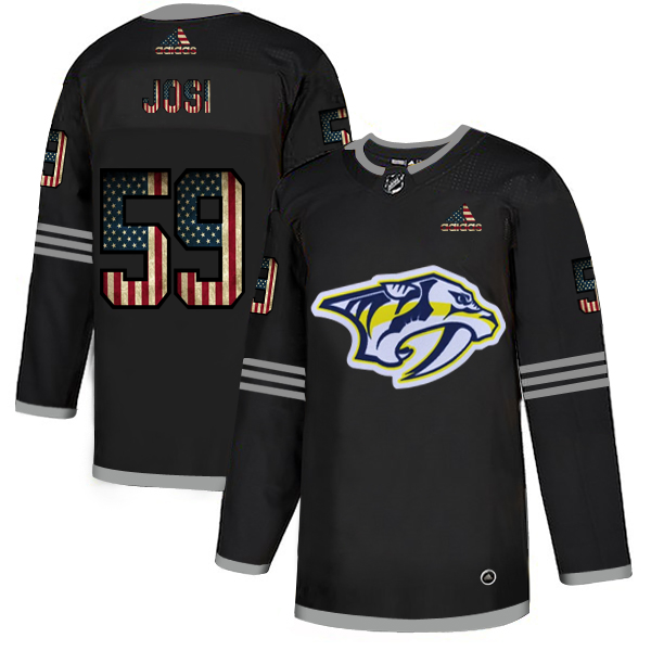Men's Nashville Predators #59 Roman Josi Grey USA Flag Stitched NHL Jersey