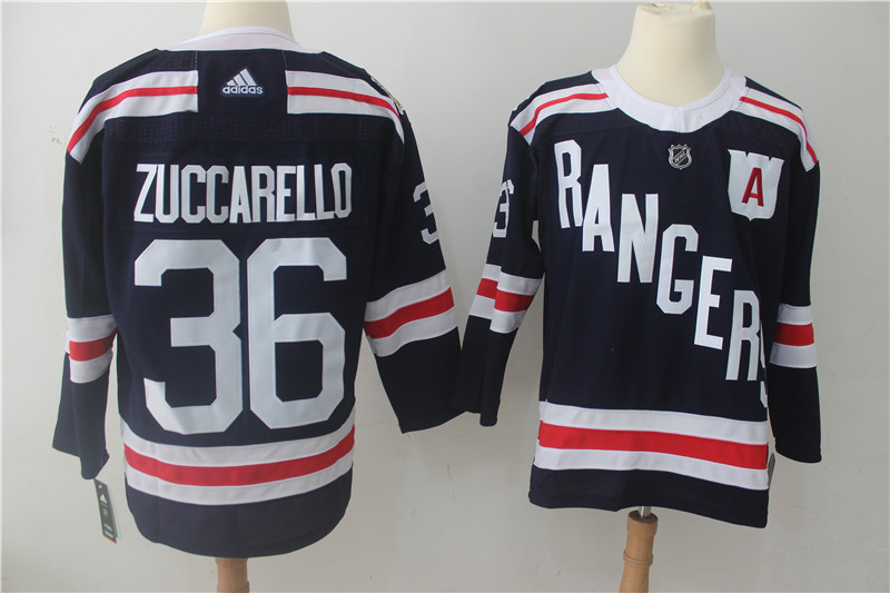 Men's Adidas New York Rangers #36 Mats Zuccarello Navy 2018 Winter Classic Authentic Stitched NHL Jersey