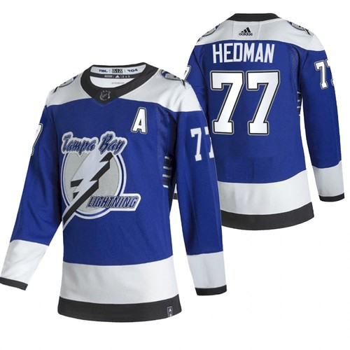 Men's Tampa Bay Lightning #77 Victor Hedman 2021 Blue Reverse Retro Stitched NHL Jersey