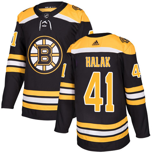 Men's Boston Bruins #41 Jaroslav Halak Black Stitched NHL Jersey