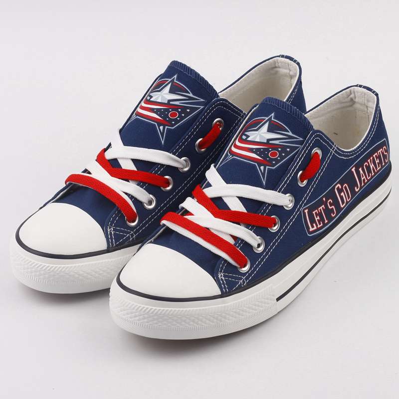 Women And Youth NHL Columbus Blue Jackets Repeat Print Low Top Sneakers 001