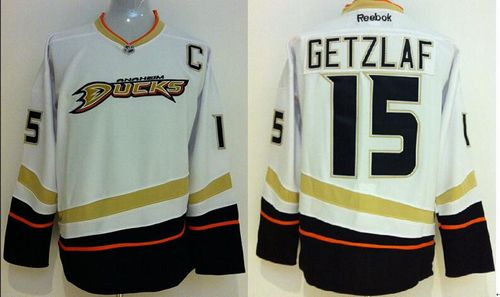 Ducks #15 Ryan Getzlaf White Stitched NHL Jersey