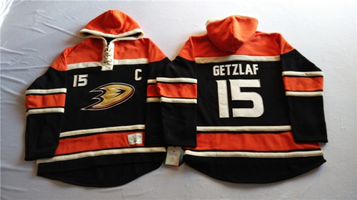 Ducks #15 Ryan Getzlaf Black Sawyer Hooded Sweatshirt Stitched NHL Jersey