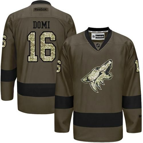 Coyotes #16 Max Domi Green Salute to Service Stitched NHL Jersey