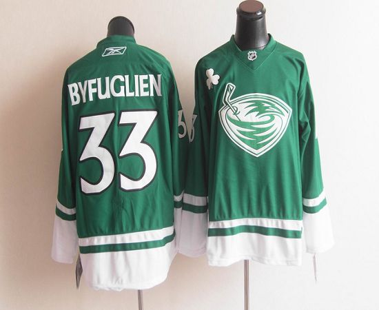 Thrashers St. Patty's Day #33 Dustin Byfuglien Green Stitched NHL Jersey