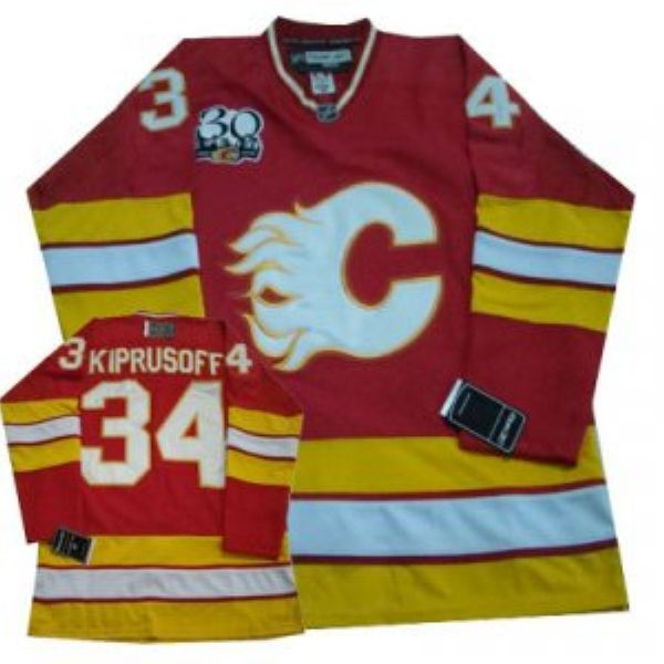 Flames #34 Miikka Kiprusoff Red with 30TH Patch NHL Jersey