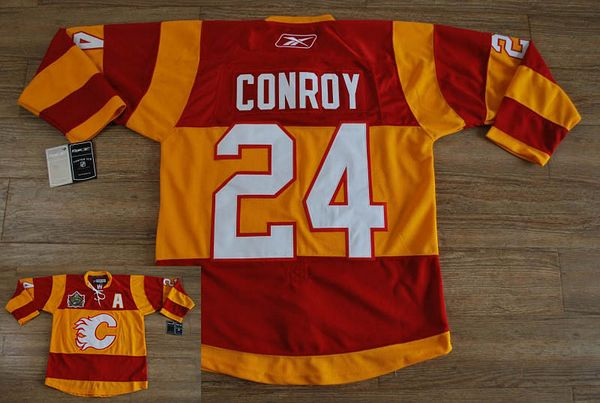 Flames #24 Craig Conroy Stitched Red/Orange 2011 Winter Classic NHL Jersey