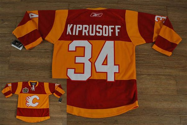 Flames #34 Miikka Kiprusoff Stitched Red/Orange 2011 Winter Classic NHL Jersey