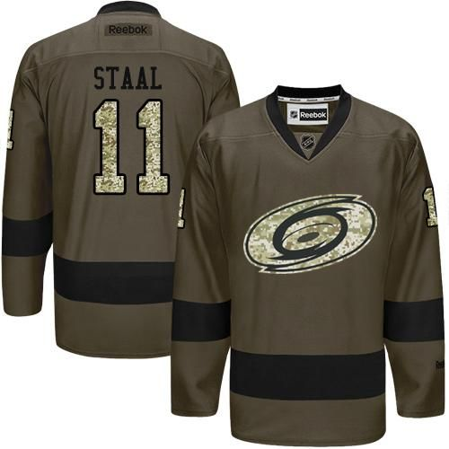 Hurricanes #11 Jordan Staal Green Salute to Service Stitched NHL Jersey