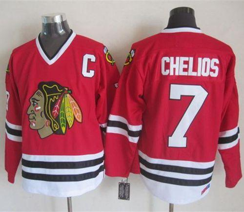 Blackhawks #7 Chris Chelios Red CCM Throwback Stitched NHL Jersey